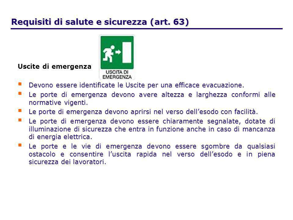 Requisiti di salute e sicurezza (art. 63)