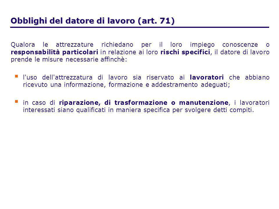 Obblighi del datore di lavoro (art. 71)