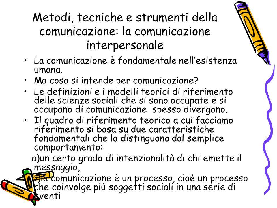 Metodi, tecniche e strumenti della comunicazione: la comunicazione interpersonale