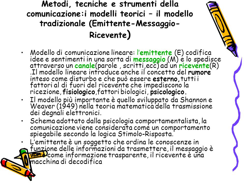 Metodi, tecniche e strumenti della comunicazione:i modelli teorici – il modello tradizionale (Emittente-Messaggio-Ricevente)