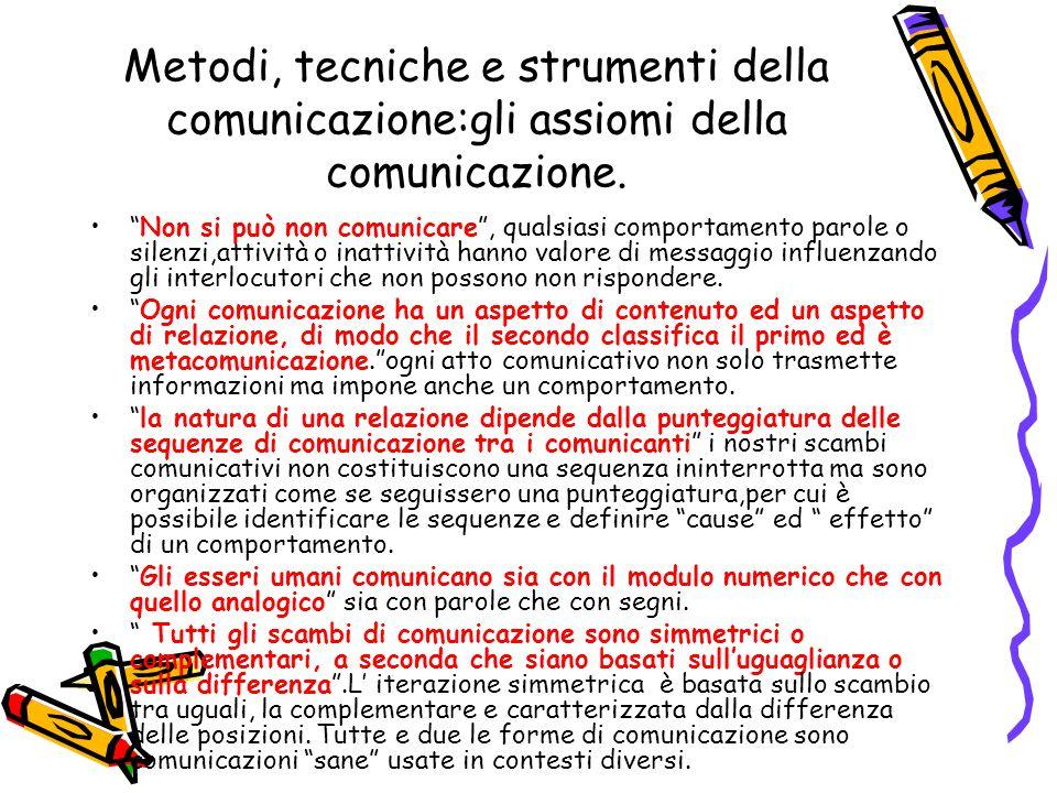 Metodi, tecniche e strumenti della comunicazione:gli assiomi della comunicazione.