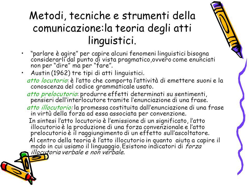 Metodi, tecniche e strumenti della comunicazione:la teoria degli atti linguistici.