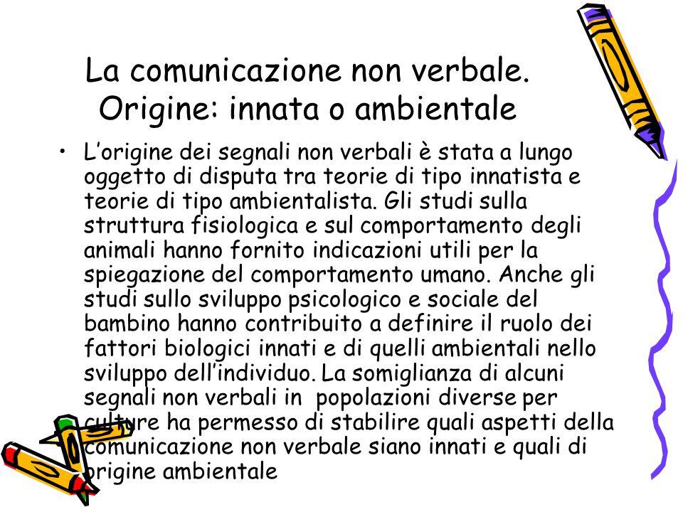 La comunicazione non verbale. Origine: innata o ambientale