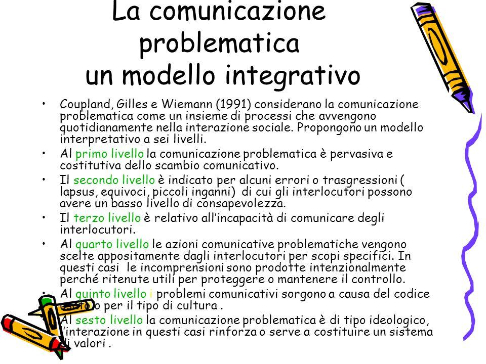La comunicazione problematica un modello integrativo
