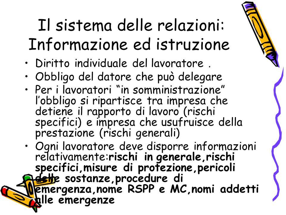 Il sistema delle relazioni: Informazione ed istruzione