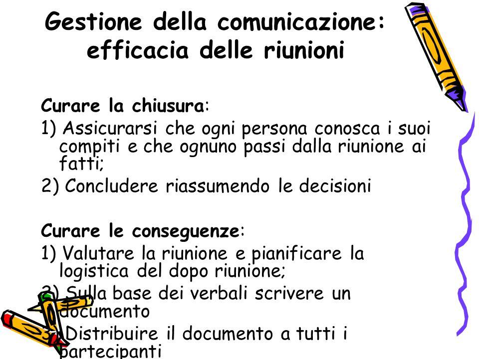 Gestione della comunicazione: efficacia delle riunioni