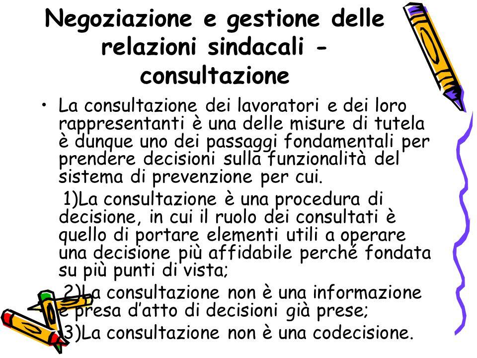 Negoziazione e gestione delle relazioni sindacali - consultazione