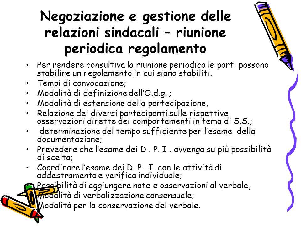 Negoziazione e gestione delle relazioni sindacali – riunione periodica regolamento