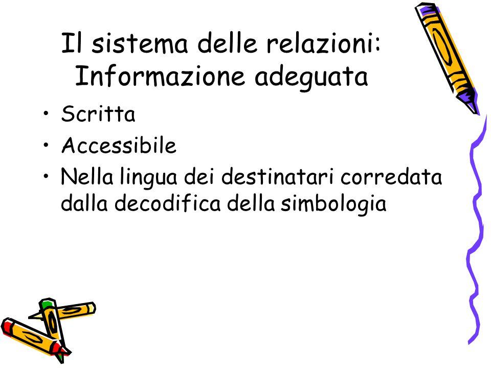 Il sistema delle relazioni: Informazione adeguata