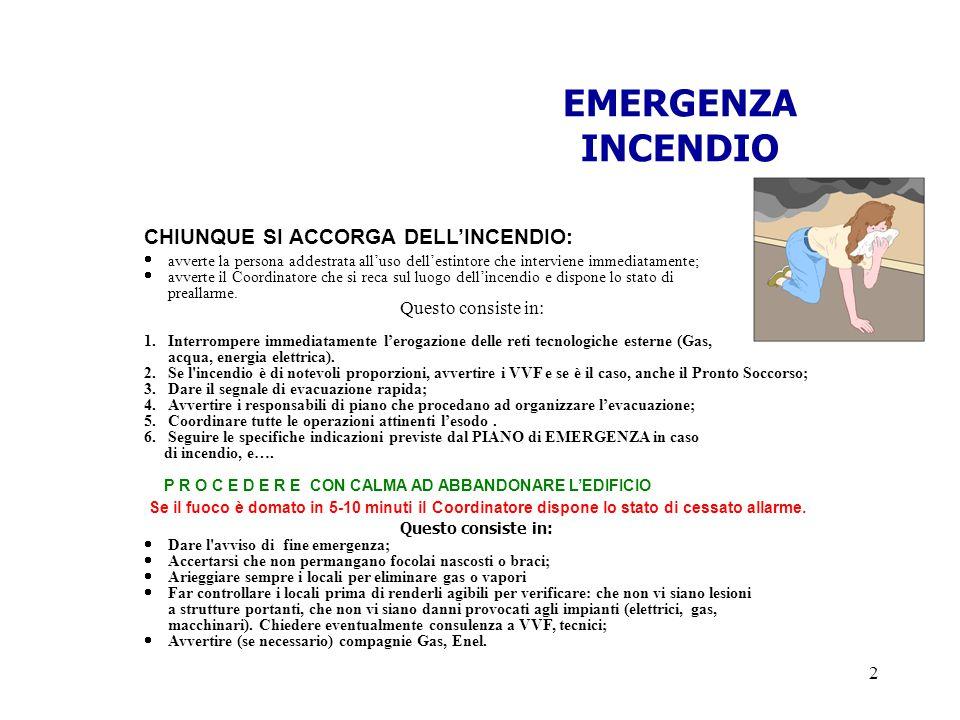 EMERGENZA INCENDIO CHIUNQUE SI ACCORGA DELL'INCENDIO: