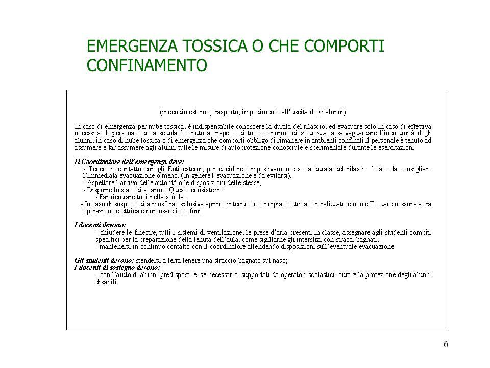 EMERGENZA TOSSICA O CHE COMPORTI CONFINAMENTO