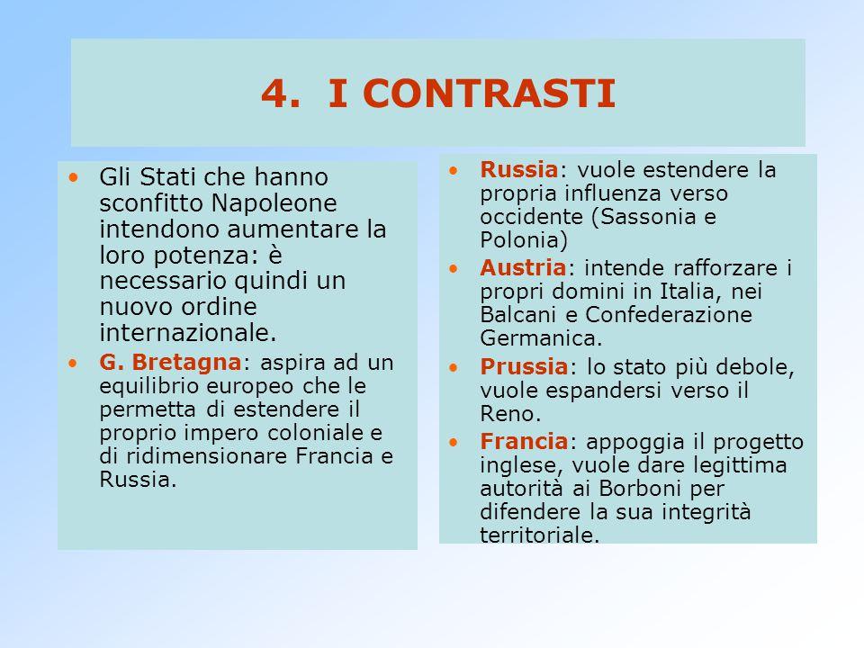 4. I CONTRASTI Russia: vuole estendere la propria influenza verso occidente (Sassonia e Polonia)