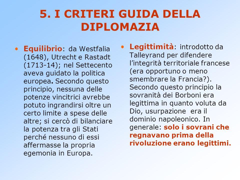 5. I CRITERI GUIDA DELLA DIPLOMAZIA