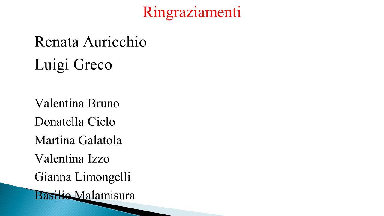 Ringraziamenti Renata Auricchio Luigi Greco Valentina Bruno