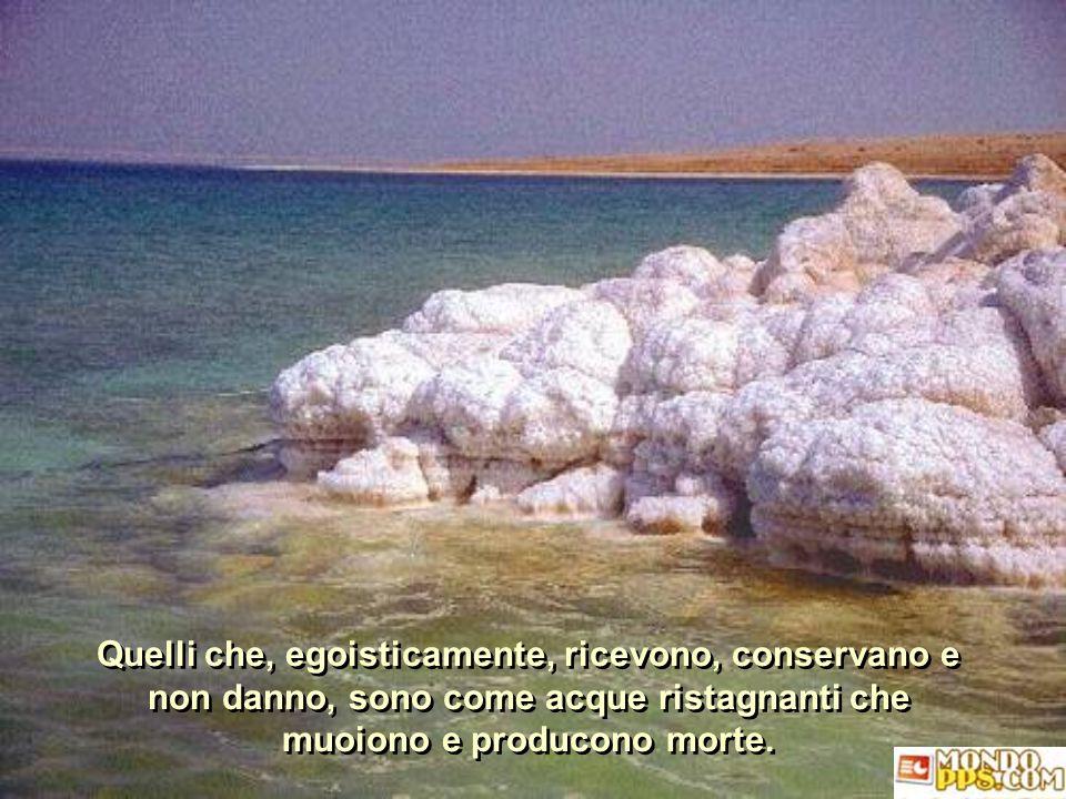 Quelli che, egoisticamente, ricevono, conservano e non danno, sono come acque ristagnanti che muoiono e producono morte.