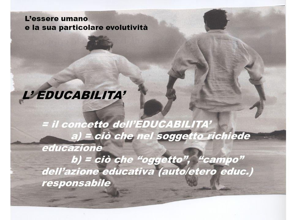 L' EDUCABILITA' = il concetto dell'EDUCABILITA'