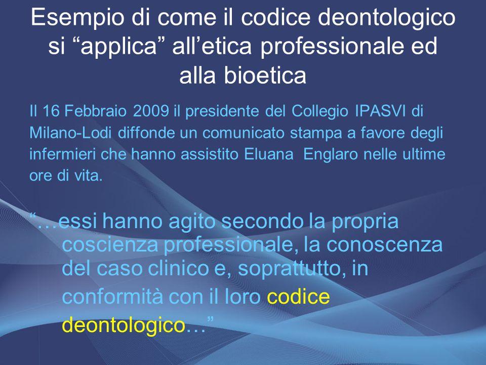 Esempio di come il codice deontologico si applica all'etica professionale ed alla bioetica