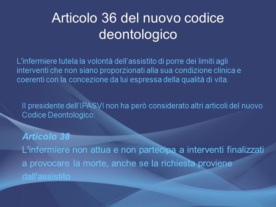Articolo 36 del nuovo codice deontologico