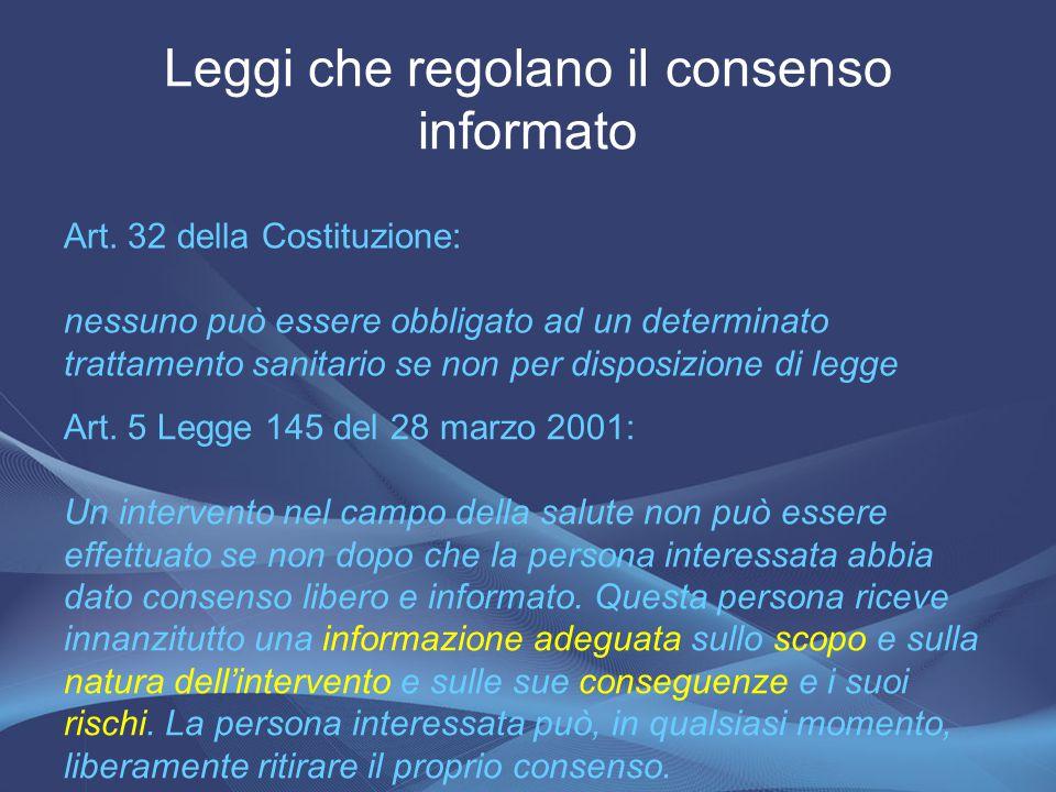 Leggi che regolano il consenso informato