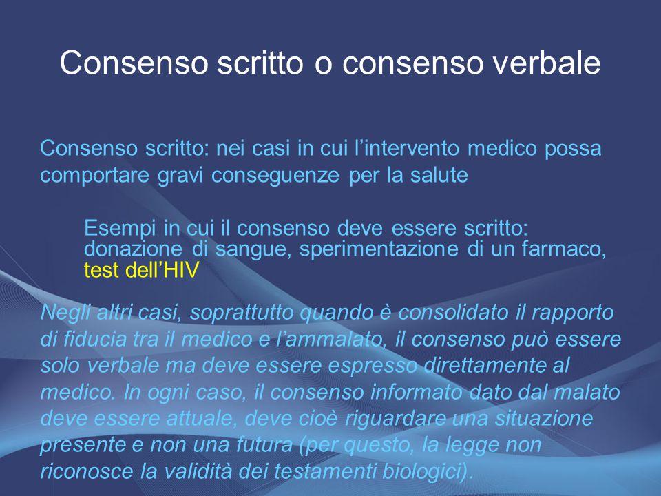 Consenso scritto o consenso verbale