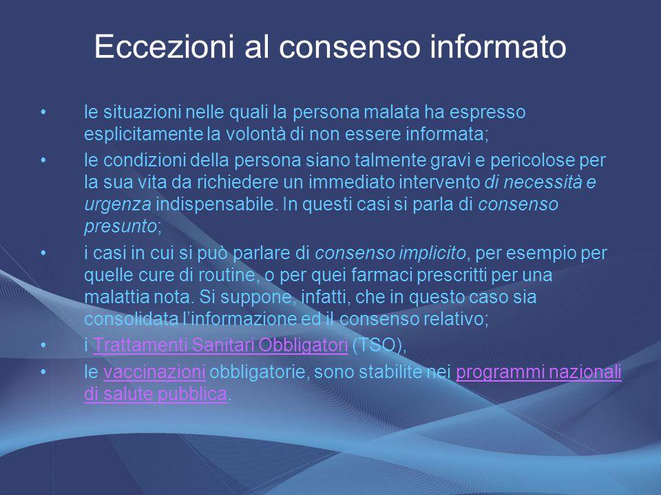 Eccezioni al consenso informato
