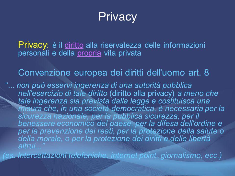 Privacy Privacy: è il diritto alla riservatezza delle informazioni personali e della propria vita privata.