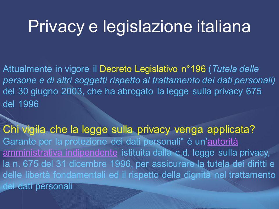 Privacy e legislazione italiana
