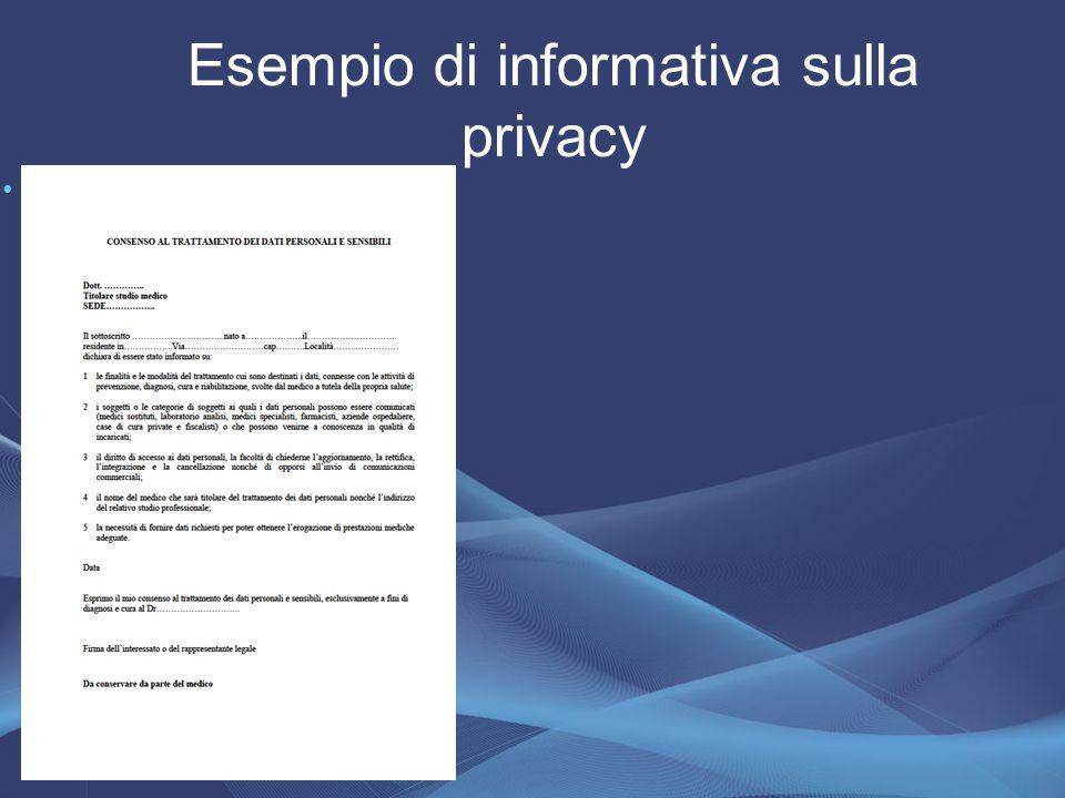 Esempio di informativa sulla privacy