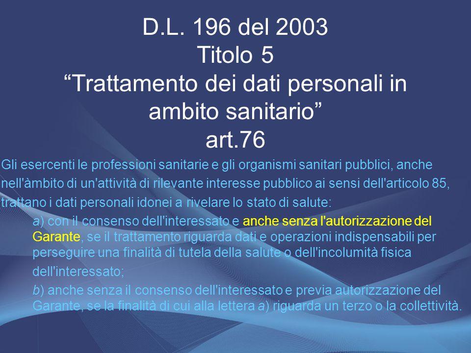 D.L. 196 del 2003 Titolo 5 Trattamento dei dati personali in ambito sanitario art.76