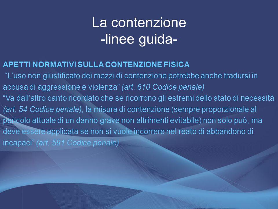 La contenzione -linee guida-