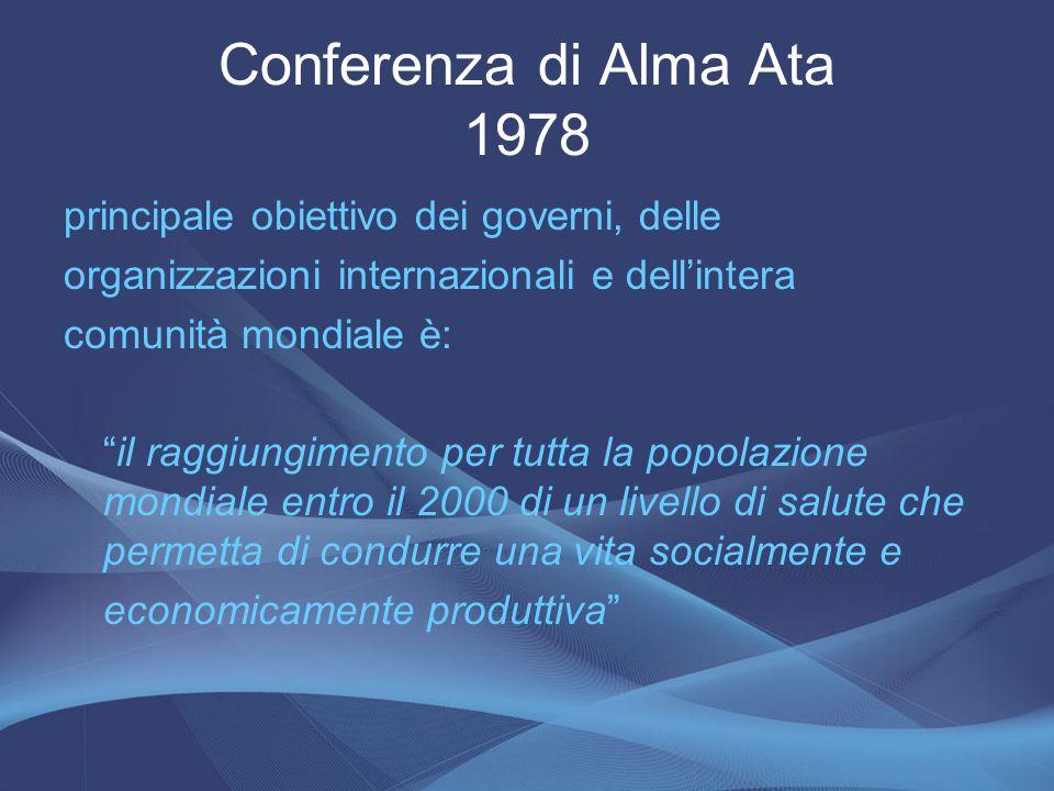 Conferenza di Alma Ata 1978 principale obiettivo dei governi, delle