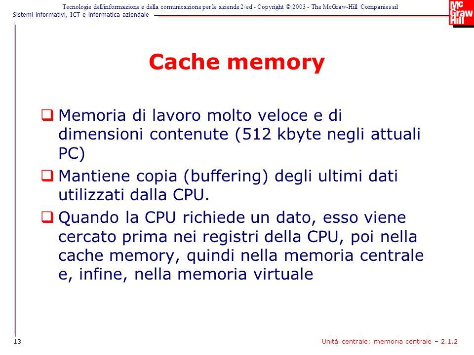 Cache memory Memoria di lavoro molto veloce e di dimensioni contenute (512 kbyte negli attuali PC)