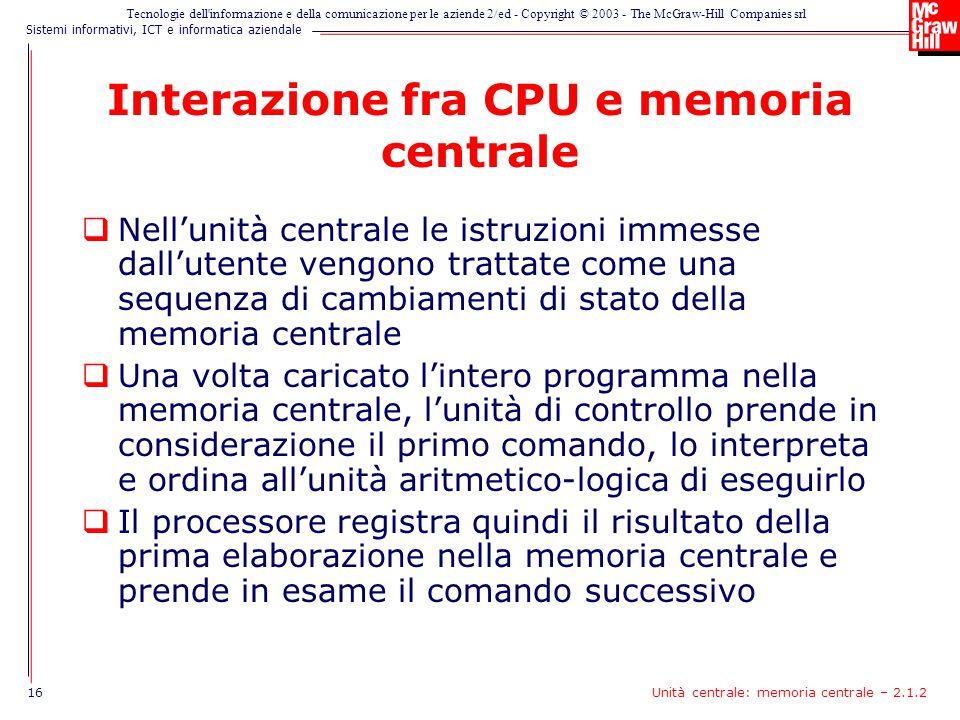 Interazione fra CPU e memoria centrale