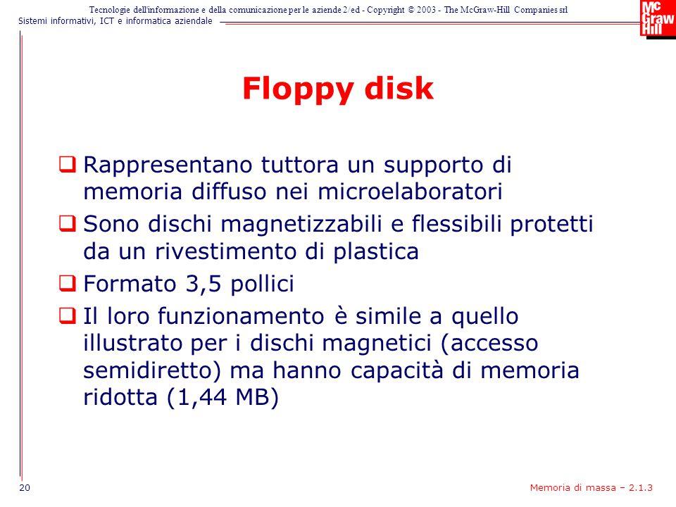 Floppy disk Rappresentano tuttora un supporto di memoria diffuso nei microelaboratori.