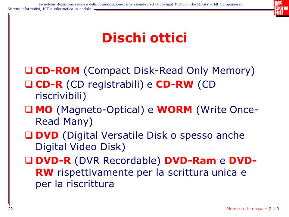 Dischi ottici CD-ROM (Compact Disk-Read Only Memory)