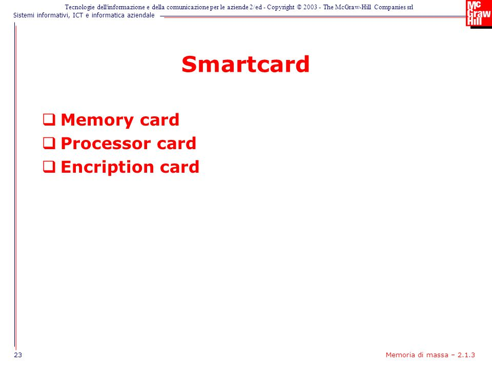 Smartcard Memory card Processor card Encription card
