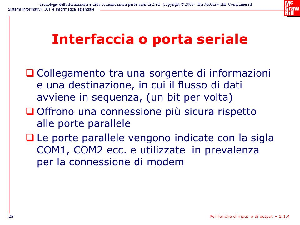 Interfaccia o porta seriale