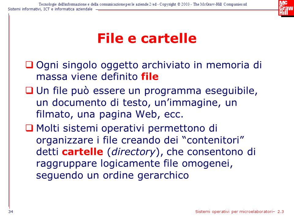 File e cartelle Ogni singolo oggetto archiviato in memoria di massa viene definito file.
