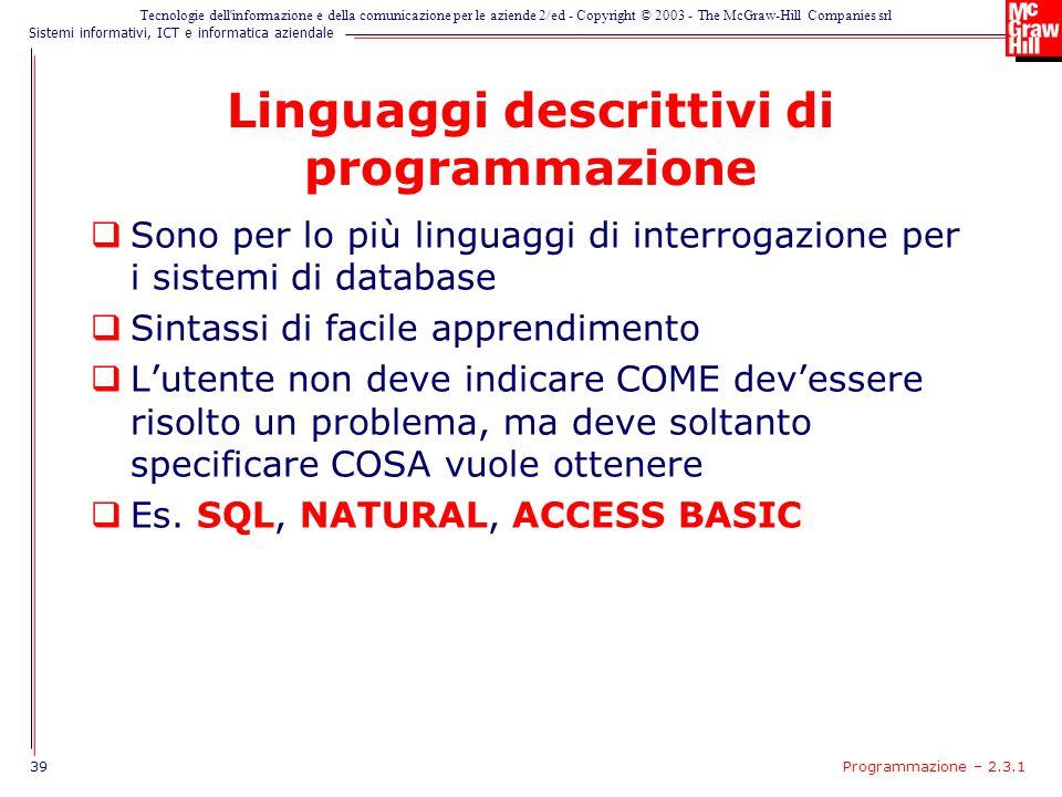 Linguaggi descrittivi di programmazione