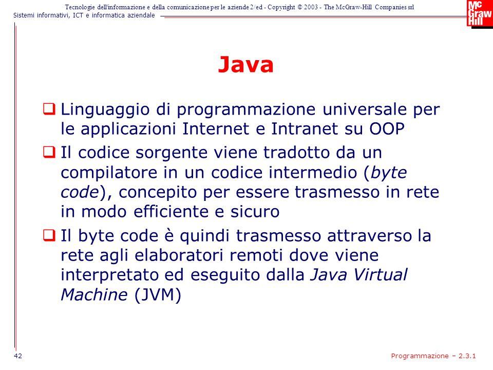 Java Linguaggio di programmazione universale per le applicazioni Internet e Intranet su OOP.