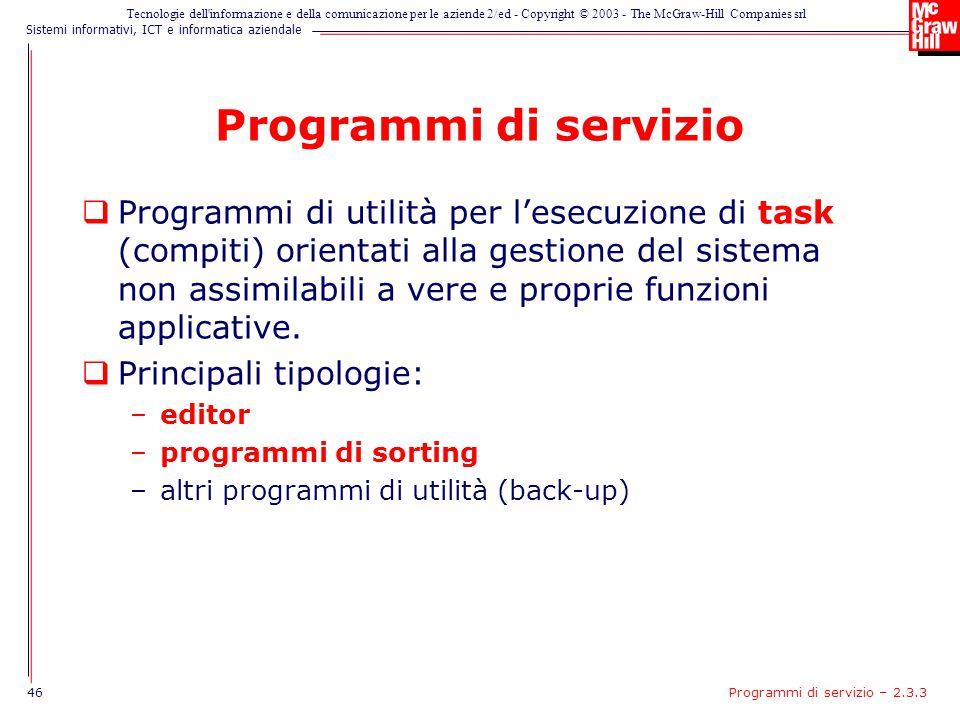 Programmi di servizio