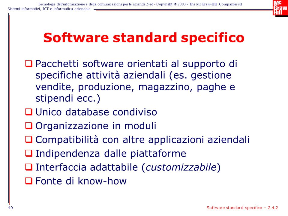 Software standard specifico