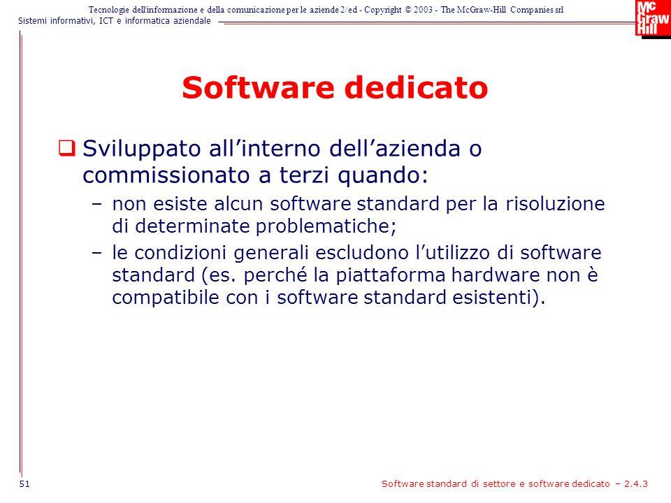 Software dedicato Sviluppato all'interno dell'azienda o commissionato a terzi quando: