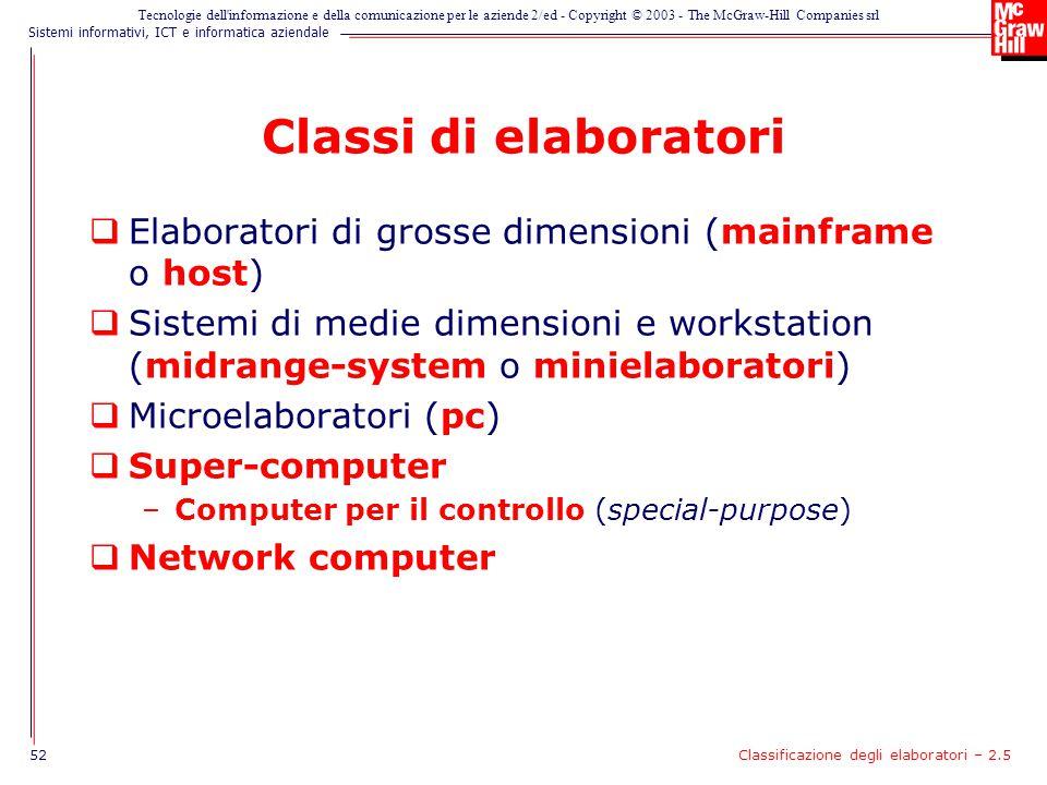Classi di elaboratori Elaboratori di grosse dimensioni (mainframe o host)