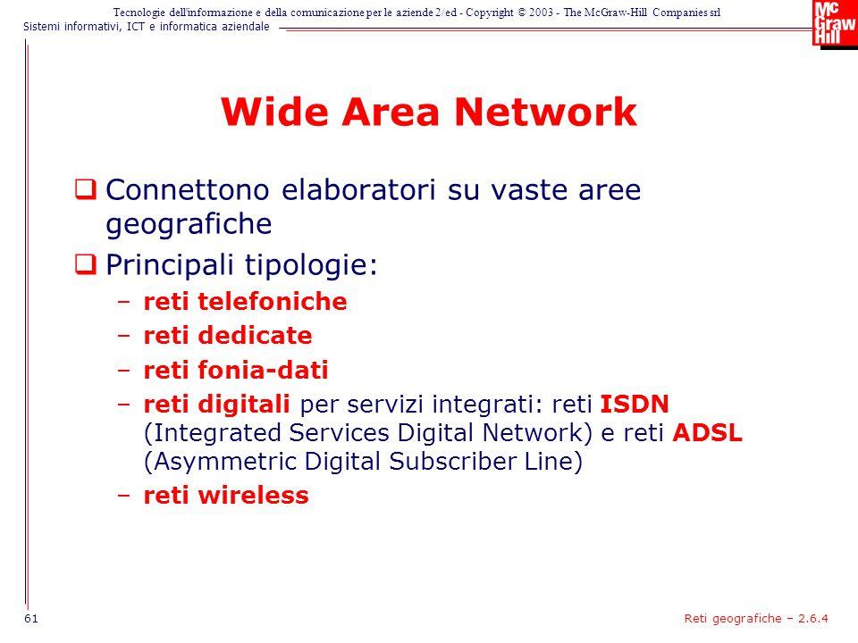 Wide Area Network Connettono elaboratori su vaste aree geografiche