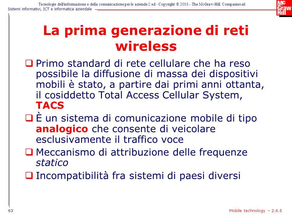 La prima generazione di reti wireless
