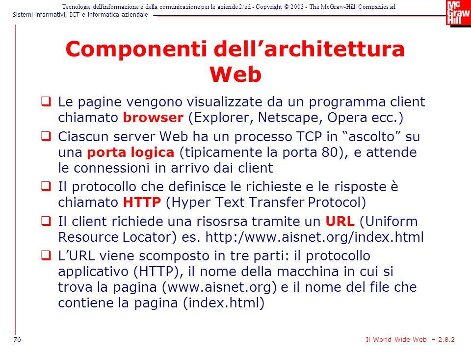 Componenti dell'architettura Web