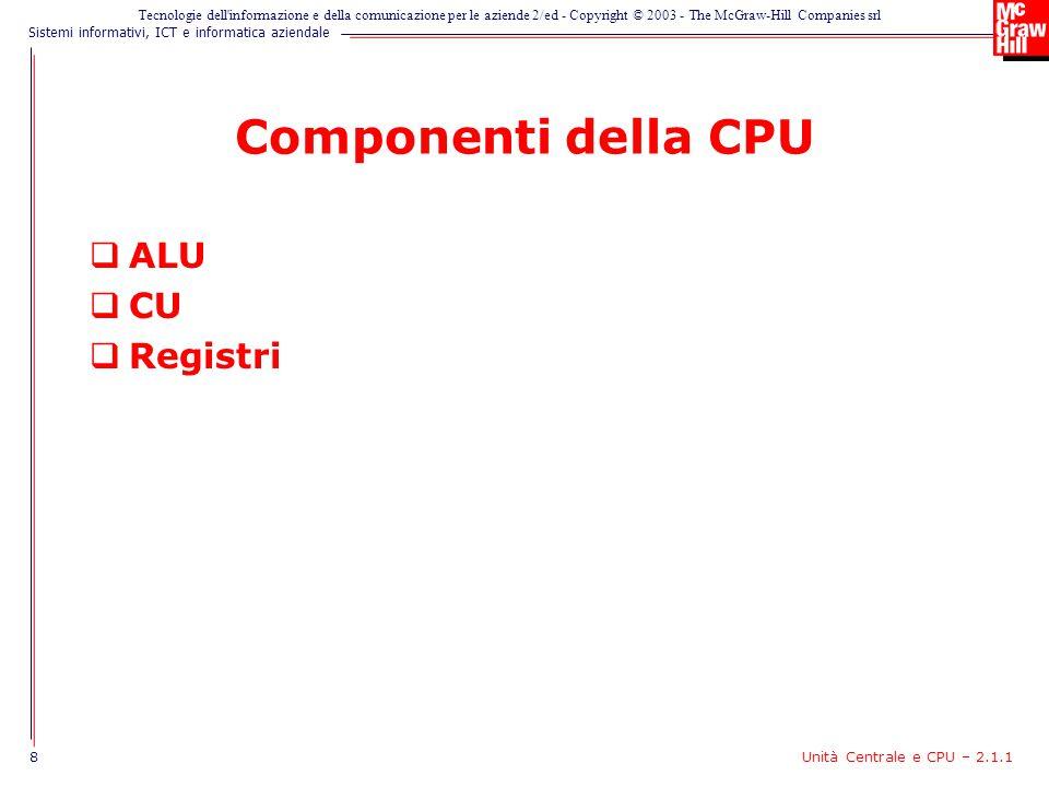 Componenti della CPU ALU CU Registri 8 Unità Centrale e CPU – 2.1.1