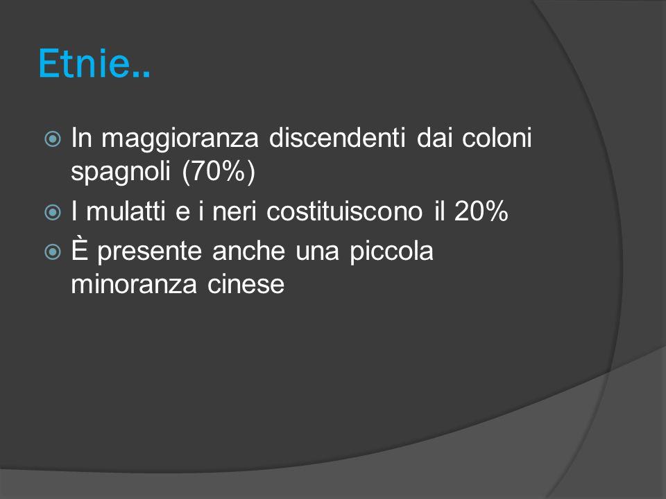Etnie.. In maggioranza discendenti dai coloni spagnoli (70%)