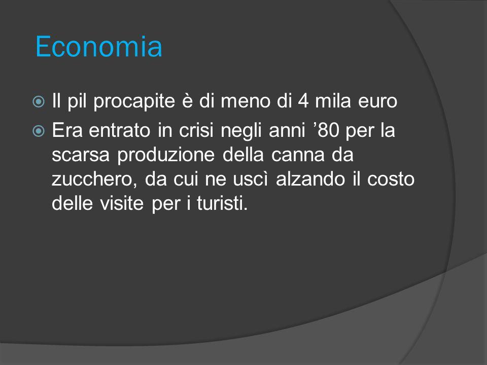 Economia Il pil procapite è di meno di 4 mila euro